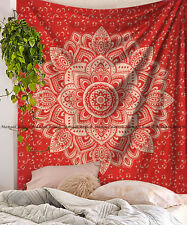 Red golden flower mandala indian cotton tapestry wall hanging bedspread blanket