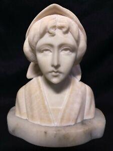 Antique Art Nouveau Carved White Marble Bust Young Maiden Girl Bonnet Sculpture