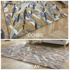 NEW ZEST BARK TEXTURE ABSTRACT HAND CARVED RUG IN CLAY PINK  & YELLOW OCHRE