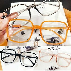 Large Square Frame Oversized Frame Clear Lens Nerd Geek Glasses