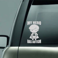 1Pc MY HERO HAS AUTISM Decal Sticker For Car Truck Laptop Decals White PET Top