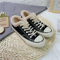 Winter Womens Thicken Sneakers Low Top Snow Boots Velvet Lined Casual Flat Shoes