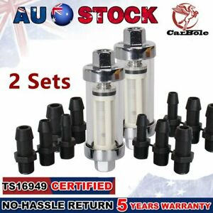 "2Set Universal Inline Gasoline Fuel Filter Carburetors 3/8"" 1/4"" 5/16"" Universal"