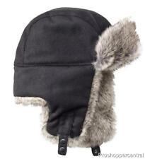 Apt. 9 Wool Blend Trapper Faux Fur Hat For Men in Black - One Size Fits All