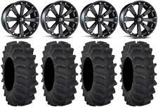 "MSA Black Kore 14"" UTV Wheels 28"" XM310 Tires Honda Pioneer 1000 / Talon"