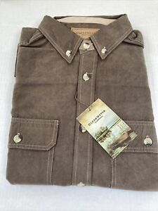 mens Clearwater suede brown Button Down Shirt Size XL NWT