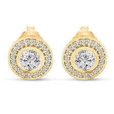 Diamond Stud Earrings 14K Yellow Gold 0.84 Carat Bezel And Micro Pave Set