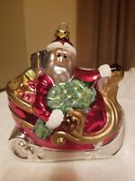 Hand Blown Mercury Glass Christmas Ornament Santa In Sleigh Large