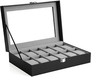 Wristwatch Display Case Box - 12 Slots, Lock, Glass Lid, Faux Leather - Black