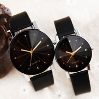 1pcs Men Women Leather Strap Line Analog Quartz Wrist Watches Fashion Watch Gift