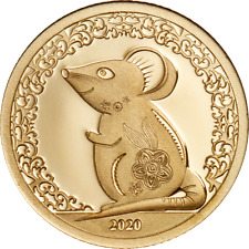 Mongolia 2020 1000 Togrog - Year of the Mouse Gold - 0.5g .9999 Gold Proof Coin