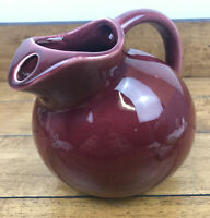 Vintage Ball Pitcher Maroon USA Water Jug With Ice Lip