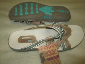 NWT SKECHERS 46720 48228/NVY WOMEN'S REGGAES SANDALS,SIZE 11 LEATHER  UPPER NEW,