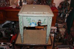 Antique Folk Art Wood Toilet Potty Plant Stand Pennsylvania Dutch Painted Birds