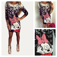 Disney MICKEY MOUSE Tunic T Shirt Winter Sexy Long Sleeve TOP PLUS SIZE XS-XL