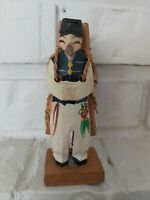 Vintage Japanese farmer villager carved wood handpainted figurine