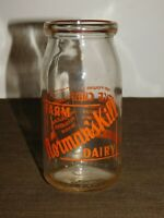 "VINTAGE MILK 6""  1951 NORMAN'S KILL FARM DAIRY COTTAGE CHEESE GLASS BOTTLE JAR"