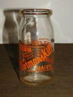 "VINTAGE MILK 6""  1951 NORMAN'S KILL FARM DAIRY COTTAGE CHEESE GLASS BOTTLE JAR"