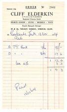 Receipt / Invoice Stroud shop Nelson St. Cliff Elderkin 1964 Sports Goods & Toys