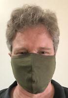 3 pack - Large Olive Drab Face Mask Unisex Adults Cotton Blend Summer Washable