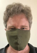 3 pack - Large Olive Drab Face Mask Unisex Adults Cotton Blend Summer Washable