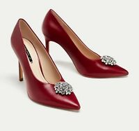 ZARA LEATHER HIGH HEEL COURT SHOES WITH GEM DETAIL SIZE 5 UK 38 EU 7.5 US