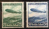 """Germany 3rd Reich1936 Mi 606-7 Sc C57-8 Hindenburg Zeppelin MNG """"BPP CERTIFIED"""""""