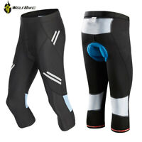 Mens Outdoor Cycling 3/4 Three Quarter Calf-Length Bicycle Shorts Padded Tights