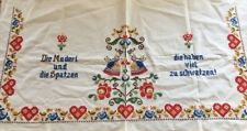 vintage Handmade German cross stitch tablecloth runner hearts birds flowers