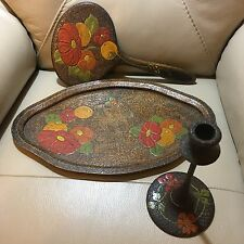 Unusual vintage art deco pokerwork orange 3 piece vanity set mirror tray candle