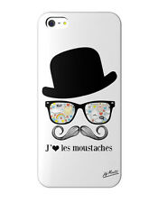 Coque motif Moustache Charly iPhone 5 Collection J&j Moatti coloris blanc