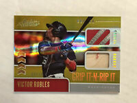 VICTOR ROBLES 2020 Absolute Grip It GOLD HOLO DUAL GU GLOVE/BAT 08/10! RARE!