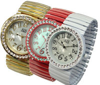AN London Ladies/Girls Wide Expandable / Stretch Band Bracelet Watch -AN4085