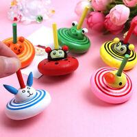 1Pc Cartoon wood gyro toys kids adult relief stress desktop spinning top toCAJH