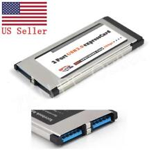 ExpressCard 34mm 2 Ports USB 3.0 Hidden Adapter For Laptop Notebook US Stoc