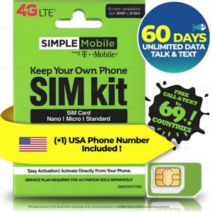 USA 60Day $60 UNLIMITED DATA TALK TEXT Prepaid Travel SIM Card Hotspot T-Mobile