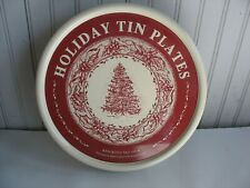 """S/4 Restoration Hardware 10"""" Tin Metal Christmas Plates 2005 With Storage Can"""