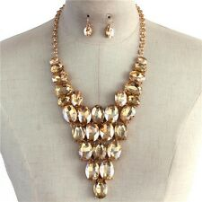 Champagne Topaz Oval Crystal Bead Gold Tone Base V Style Chunky Necklace Earring
