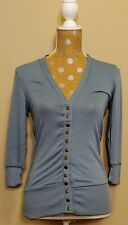 NWOT Womens Zenana Outfitters Snap Button Cardigan Light Pigeon Blue 3/4 Small