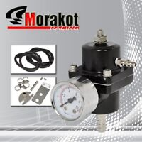 Universal Aluminum Adjustable 1-140 PSI  Fuel Pressure Regulator+W/Gauge Black