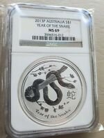 2013 P SILVER AUSTRALIA $1 DOLLAR YEAR OF THE SNAKE LUNAR COIN NGC MINT STATE 69
