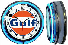 """18"""" GULF Gasoline Motor Oil Gas Station Sign Double Blue Neon Clock No Nox"""