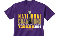 LSU Tigers 2019 National Champions Purple Youth Shirt Sizes S-XL Trophy