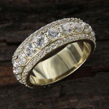 Men's 2.24 Ct Round Cut Diamond 10k Yellow Gold Over Eternity Wedding Band Ring