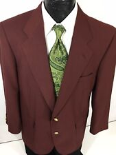 David Taylor Men's Maroon Red Sport Coat Gold Btn Jacket Wool Blazer 42 S Short