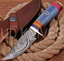 UD HANDMADE FIXED BLADE DAMASCUS ART HUNTER SKINNER KNIF CAMEL BONE HANDLE 10297