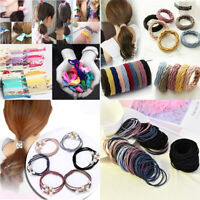 100Pcs Women Girl Elastic Rubber Hair Ties Band Rope Ponytail Holder Resilience
