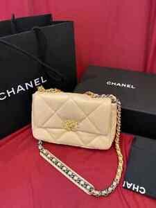 Chanel 19 21S Dark Beige Flap Medium  Bag  Quilted Lambskin Large 30688200