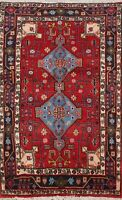 Geometric Tribal Traditional Area Rug Hand-Knotted Oriental Wool Carpet 4x5 New