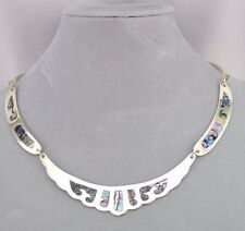 Alpaca Mexican Silver Abalone Inset Necklace Handmade Fashion Jewelry NEW